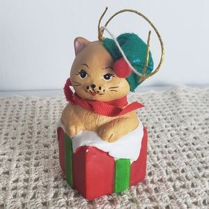 Vintage Christmas Ornament 1986 Cat Bell